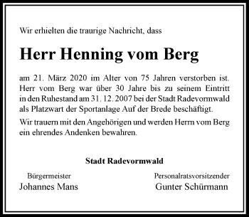 Traueranzeige von Henning vom Berg von Rheinische Post