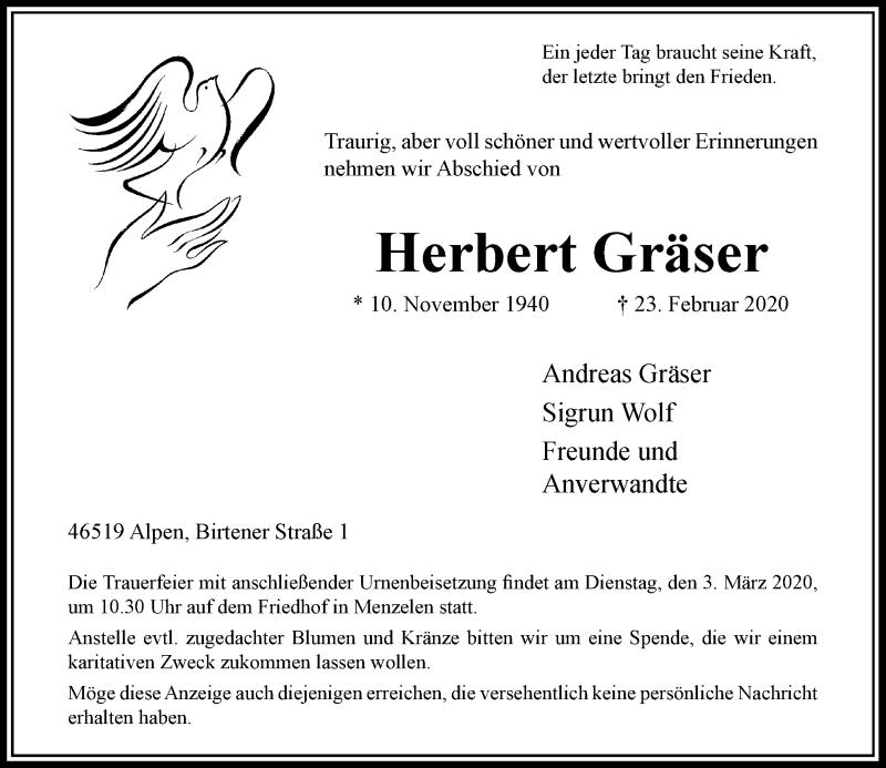 Traueranzeige für Herbert Gräser vom 29.02.2020 aus Rheinische Post