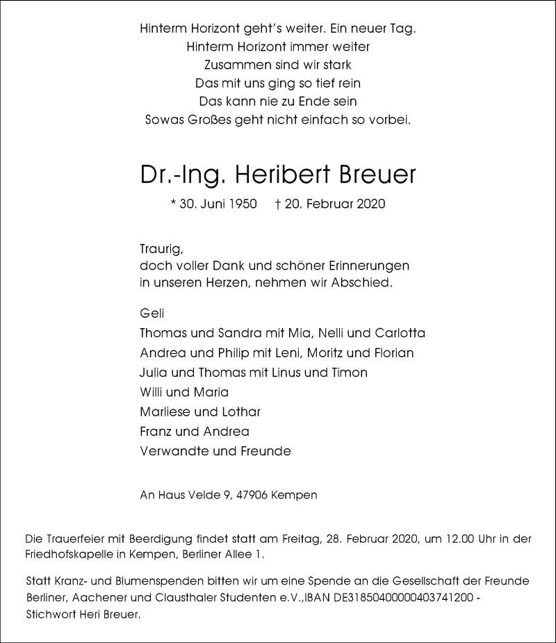 Anzeige von  Heribert Breuer