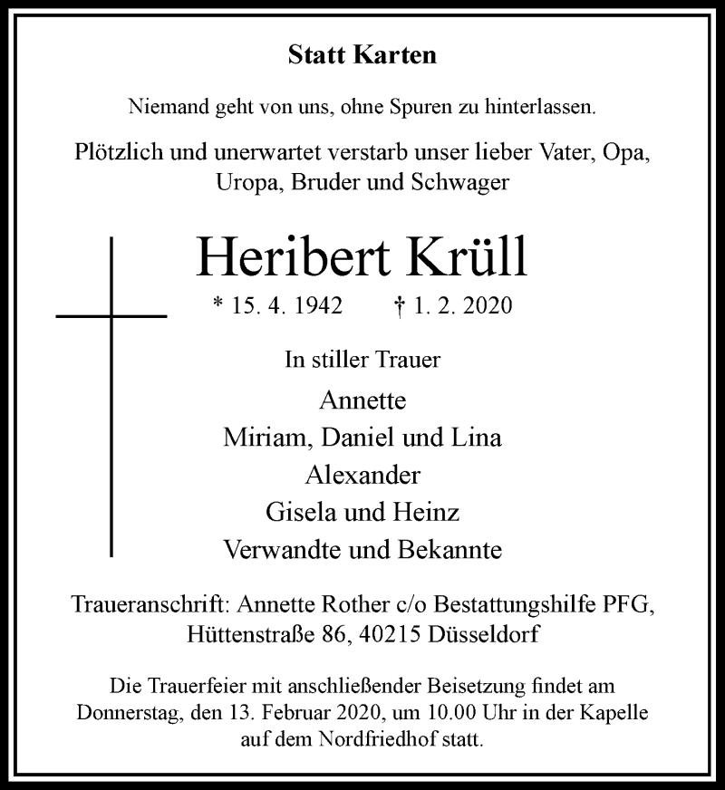 Traueranzeige für Heribert Krüll vom 08.02.2020 aus Rheinische Post