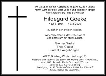 Traueranzeige von Hildegard Goeke von Rheinische Post
