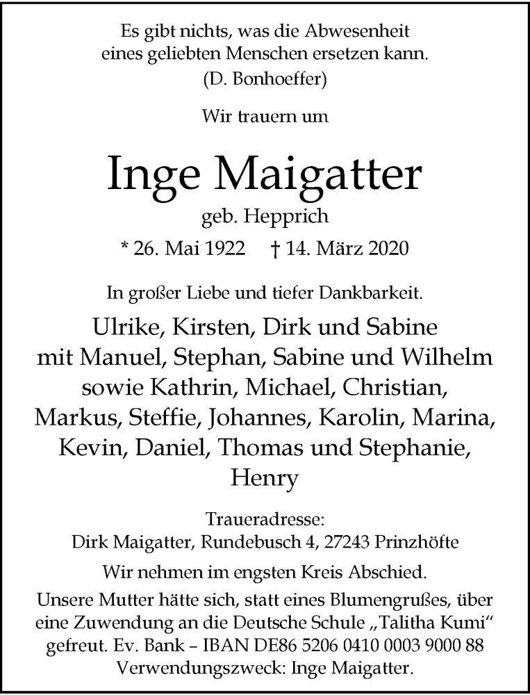 Anzeige von  Inge Maigatter