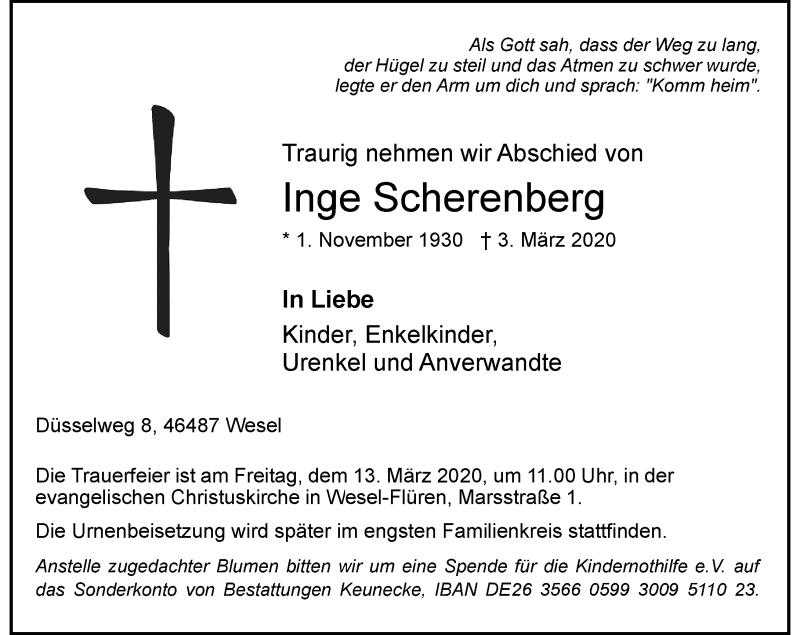 Anzeige von  Inge Scherenberg