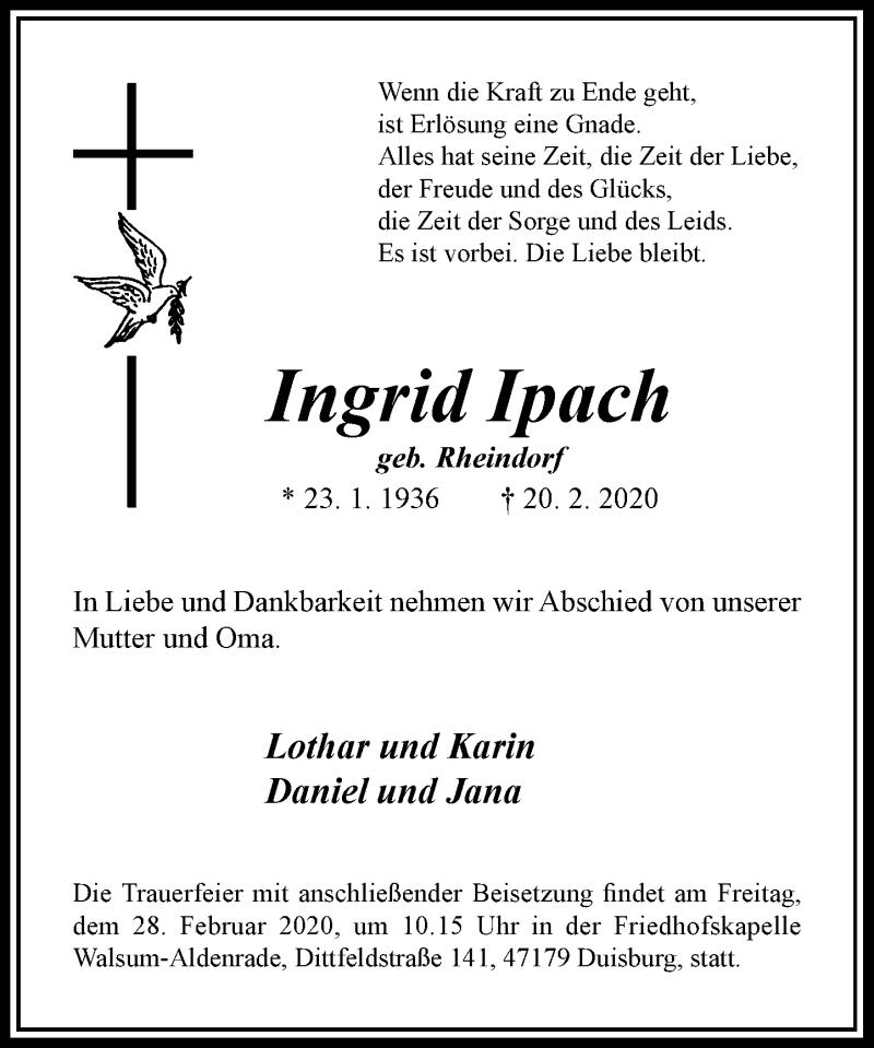 Anzeige von  Ingrid Ipach