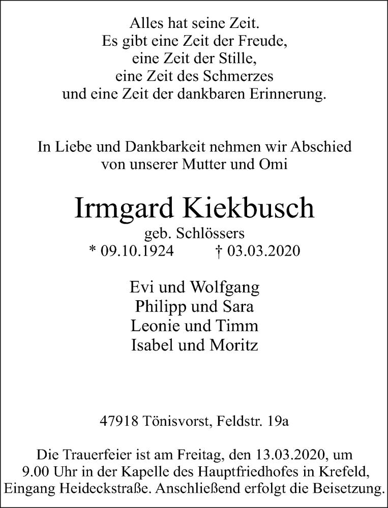 Anzeige von  Irmgard Kiekbusch