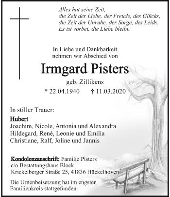 Traueranzeige von Irmgard Pisters von Rheinische Post