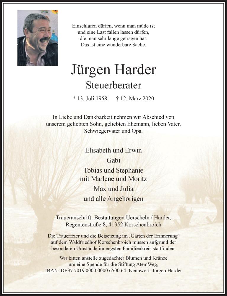 Anzeige von  Jürgen Harder