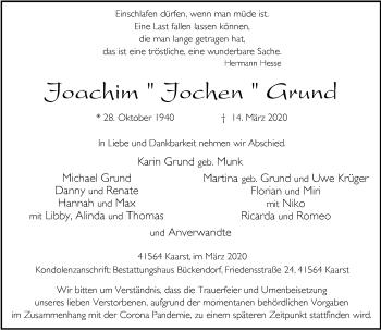 Traueranzeige von Joachim Grund von Rheinische Post