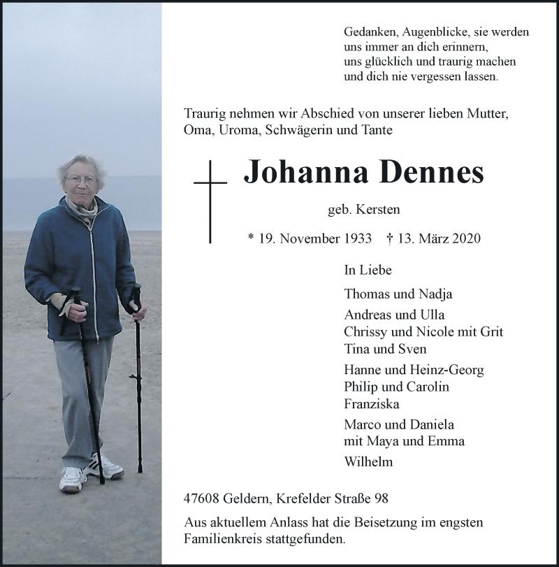 Anzeige von  Johanna Dennes