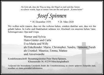 Traueranzeige von Josef Spinnen von Rheinische Post