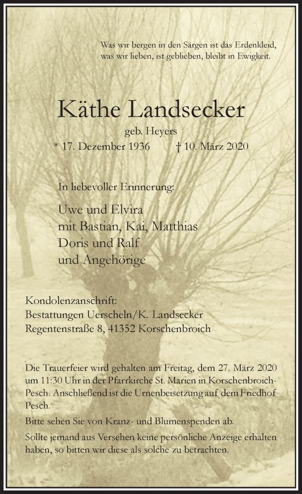 Anzeige von  Käthe Landsecker
