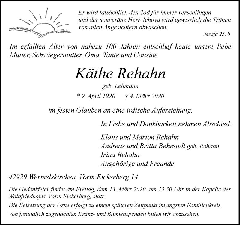 Anzeige von  Käthe Rehahn