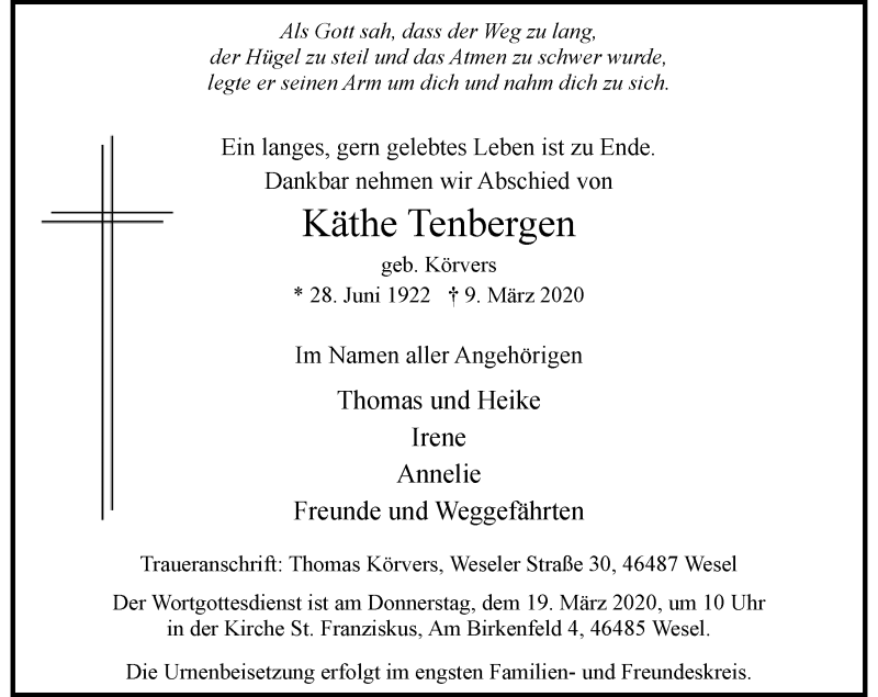 Anzeige von  Käthe Tenbergen