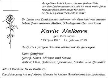 Traueranzeige von Karin Welbers von Rheinische Post