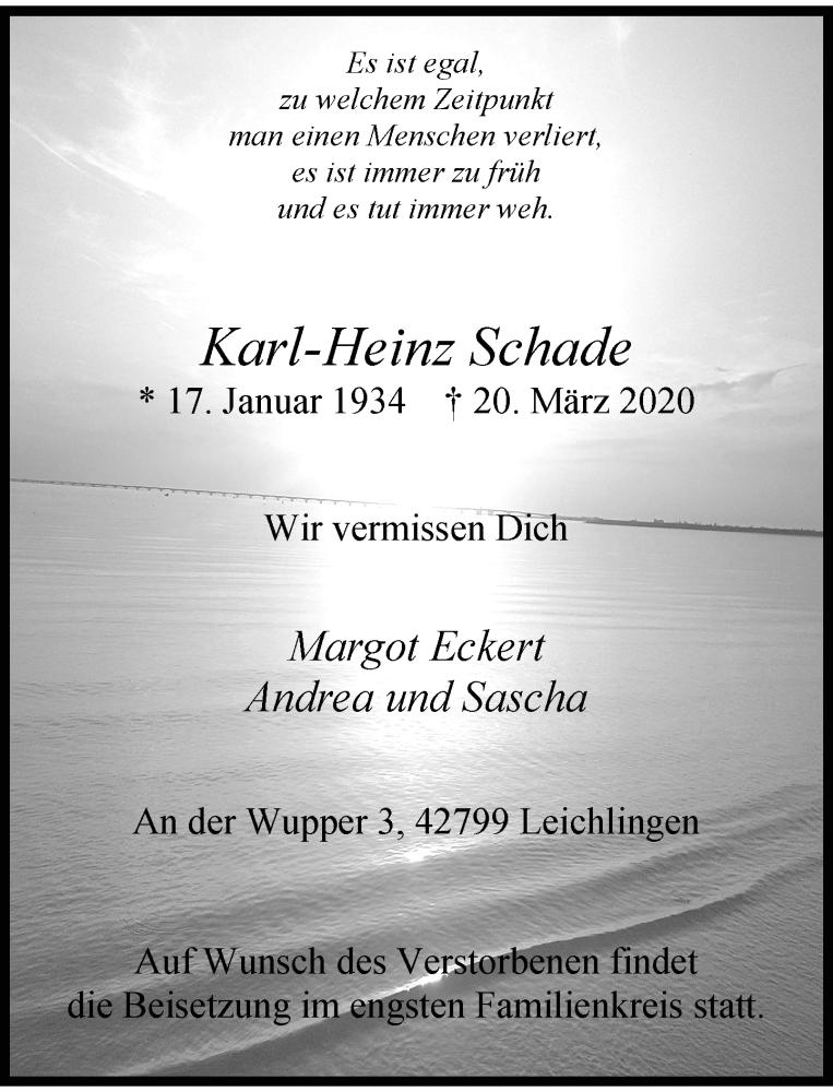 Anzeige von  Karl-Heinz Schade