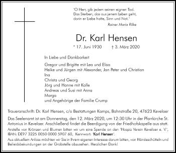 Traueranzeige von Karl Hensen von Rheinische Post