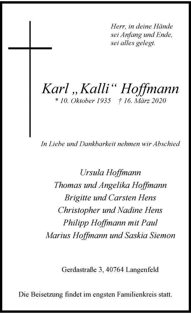 Anzeige von  Karl Hoffmann
