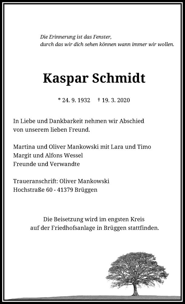 Anzeige von  Kaspar Schmidt
