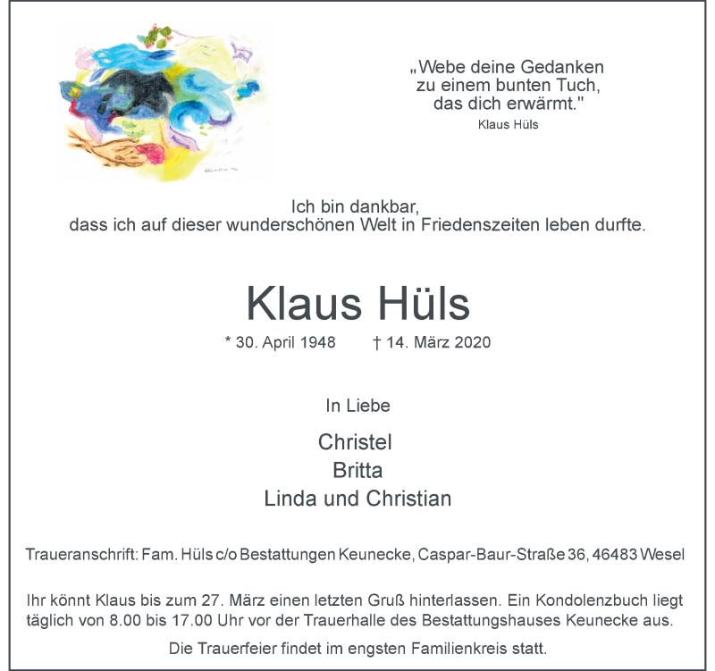 Anzeige von  Klaus Hüls
