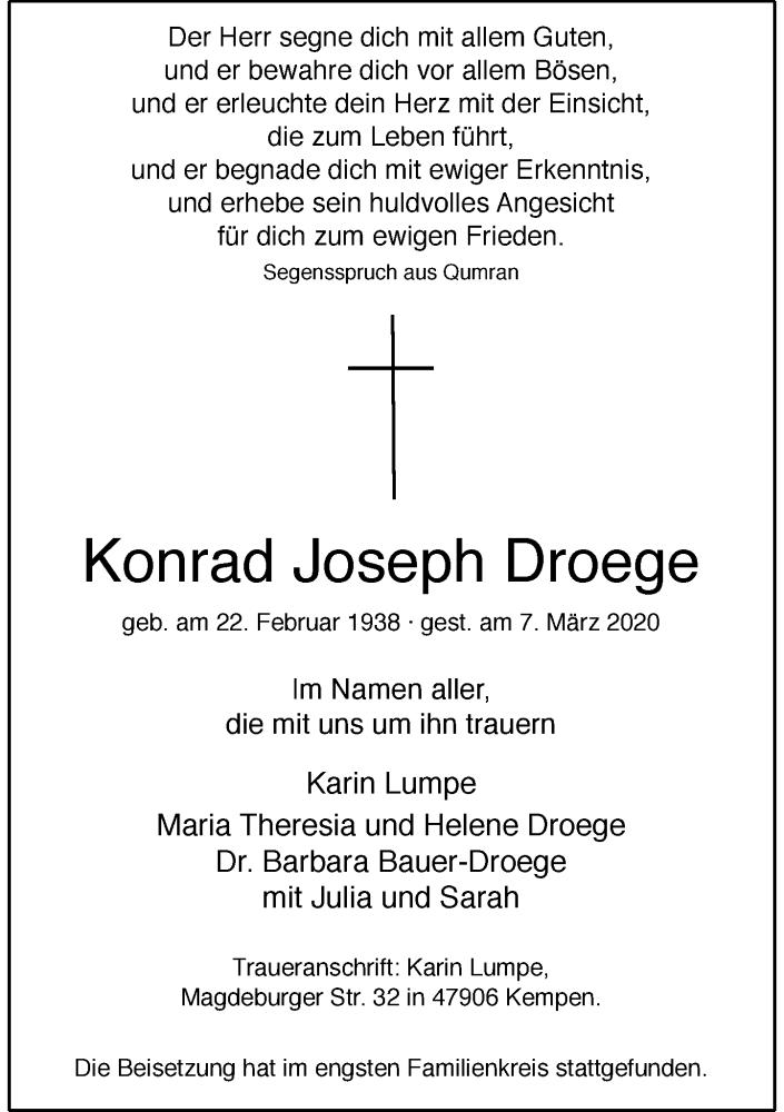 Anzeige von  Konrad Joseph Droege