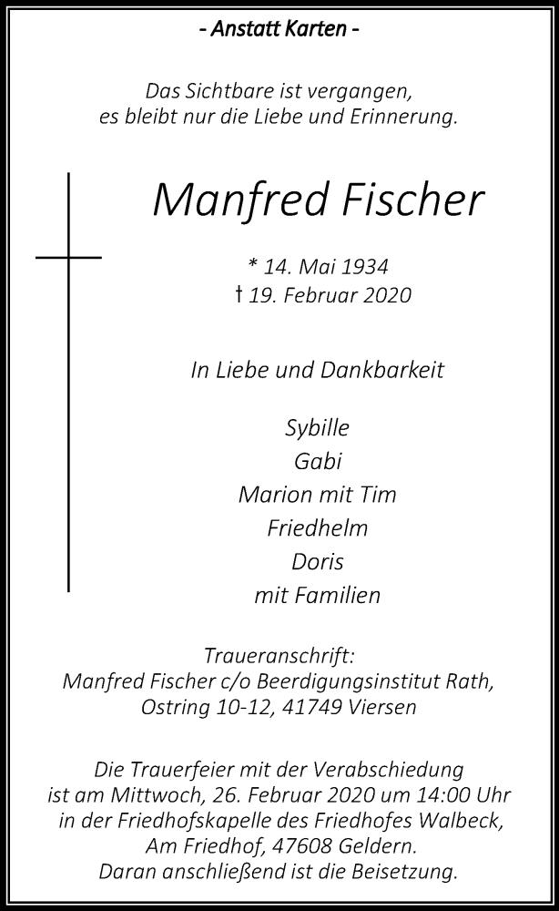 Traueranzeige für Manfred Fischer vom 22.02.2020 aus Rheinische Post