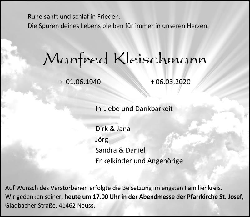 Anzeige von  Manfred Kleischmann