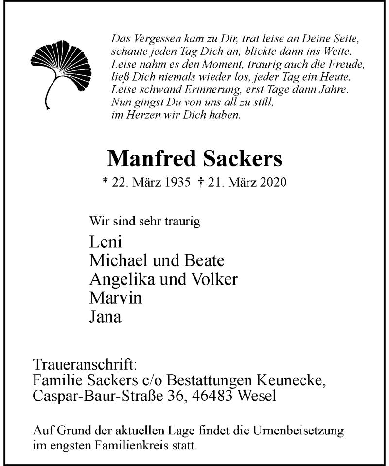 Anzeige von  Manfred Sackers