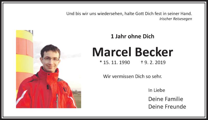 Traueranzeige für Marcel Becker vom 08.02.2020 aus Rheinische Post