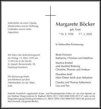 Traueranzeige von Margarete Böcker von Rheinische Post
