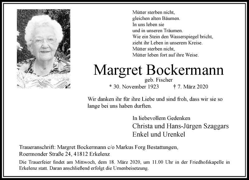 Anzeige von  Margret Bockermann