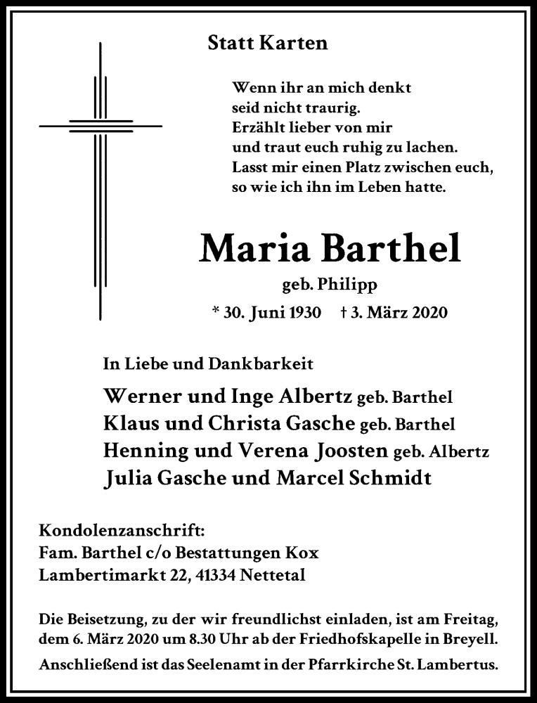 Anzeige von  Maria Barthel