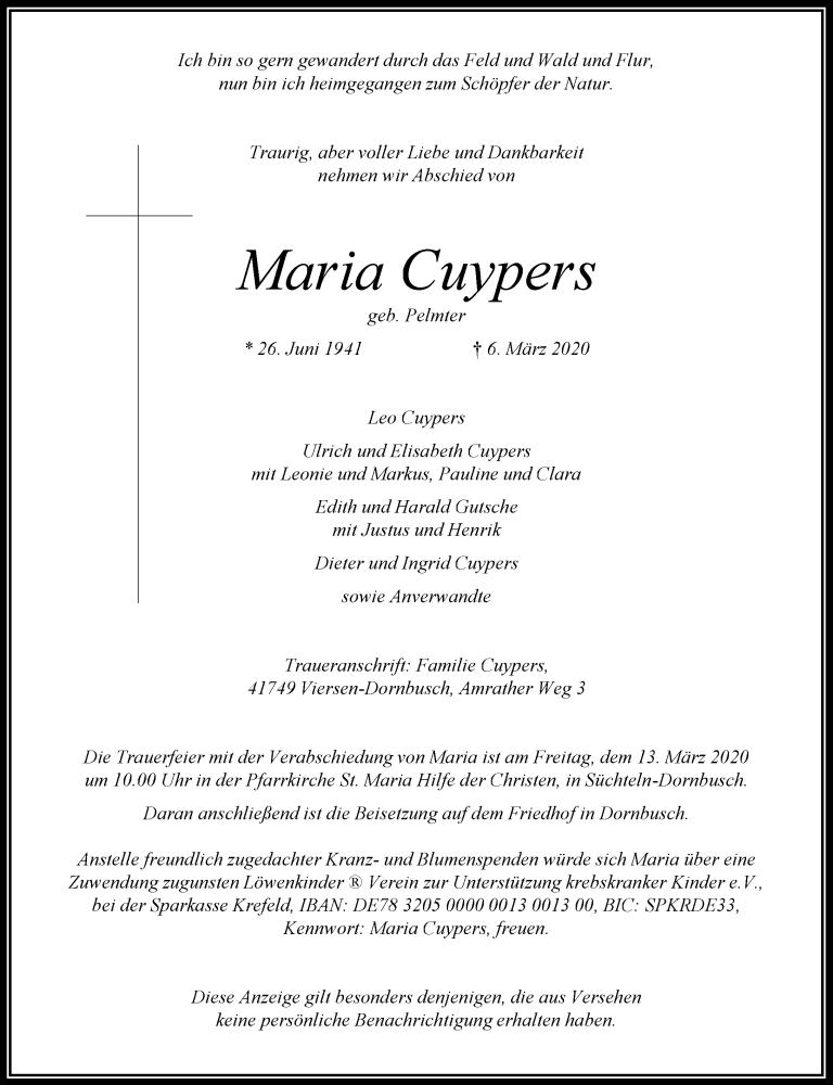 Traueranzeige für Maria Cuypers vom 11.03.2020 aus Rheinische Post