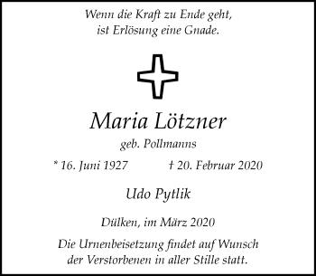 Traueranzeige von Maria Lötzner von Rheinische Post