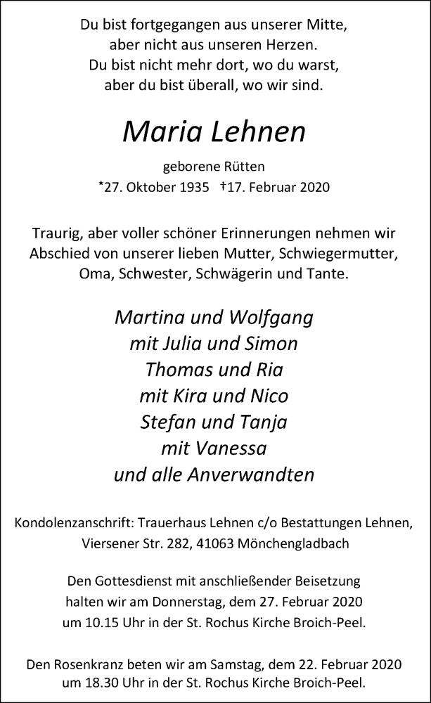 Traueranzeige für Maria Lehnen vom 22.02.2020 aus Rheinische Post