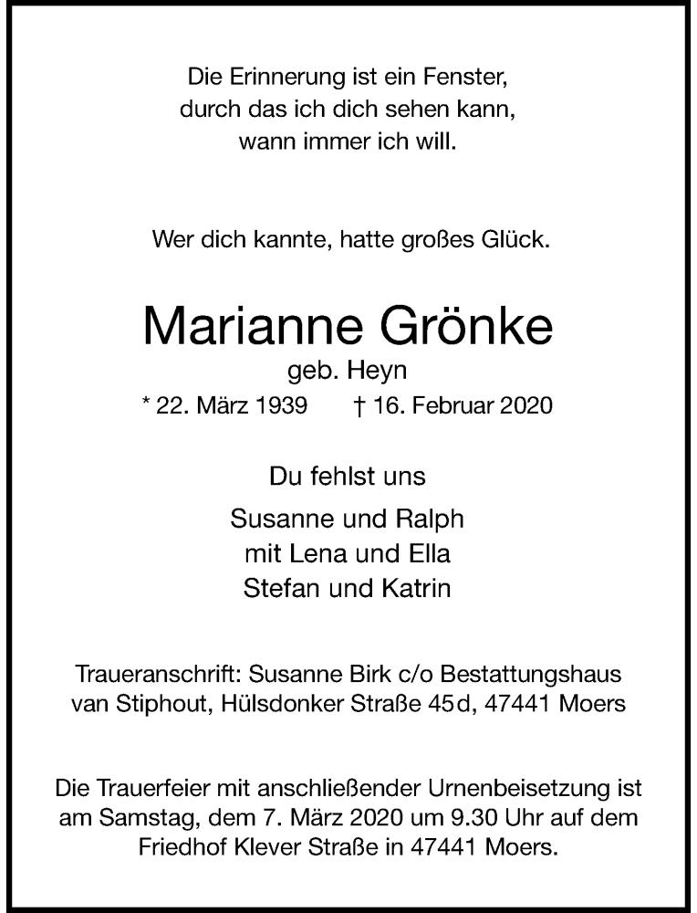 Anzeige von  Marianne Grönke