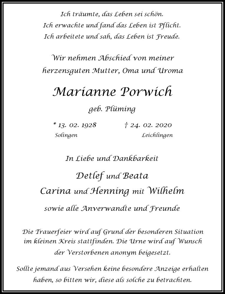 Anzeige von  Marianne Porwich