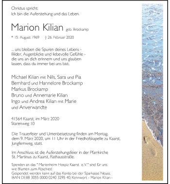 Traueranzeige von Marion Kilian von Rheinische Post