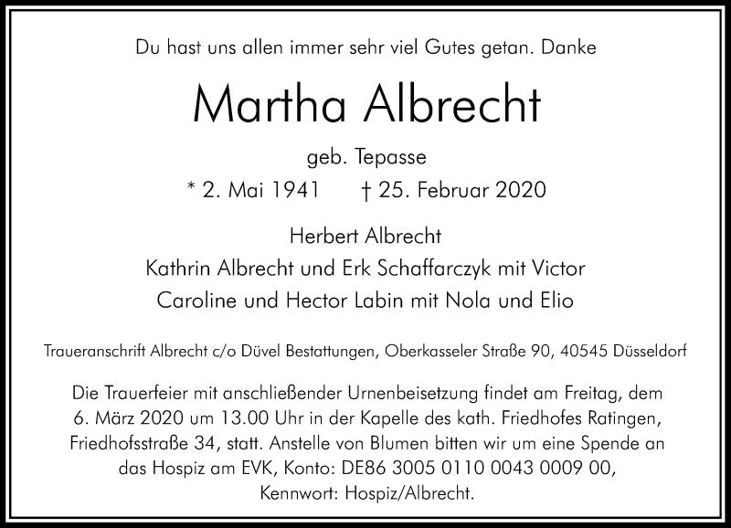 Anzeige von  Martha Albrecht