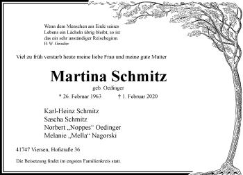 Traueranzeige von Martina Schmitz von Rheinische Post
