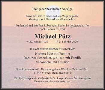 Traueranzeige von Michael Pütz von Rheinische Post