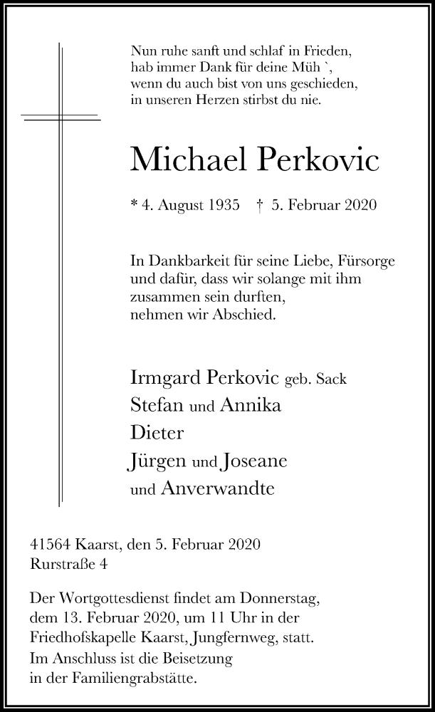 Traueranzeige für Michael Perkovic vom 08.02.2020 aus Rheinische Post