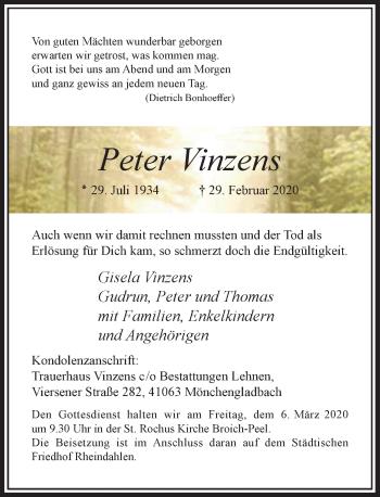 Traueranzeige von Peter Vinzens von Rheinische Post