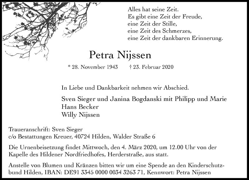 Traueranzeige für Petra Nijssen vom 29.02.2020 aus Rheinische Post