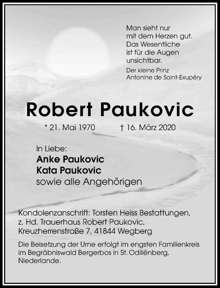 Traueranzeige für Robert Paukovic vom 21.03.2020 aus Rheinische Post