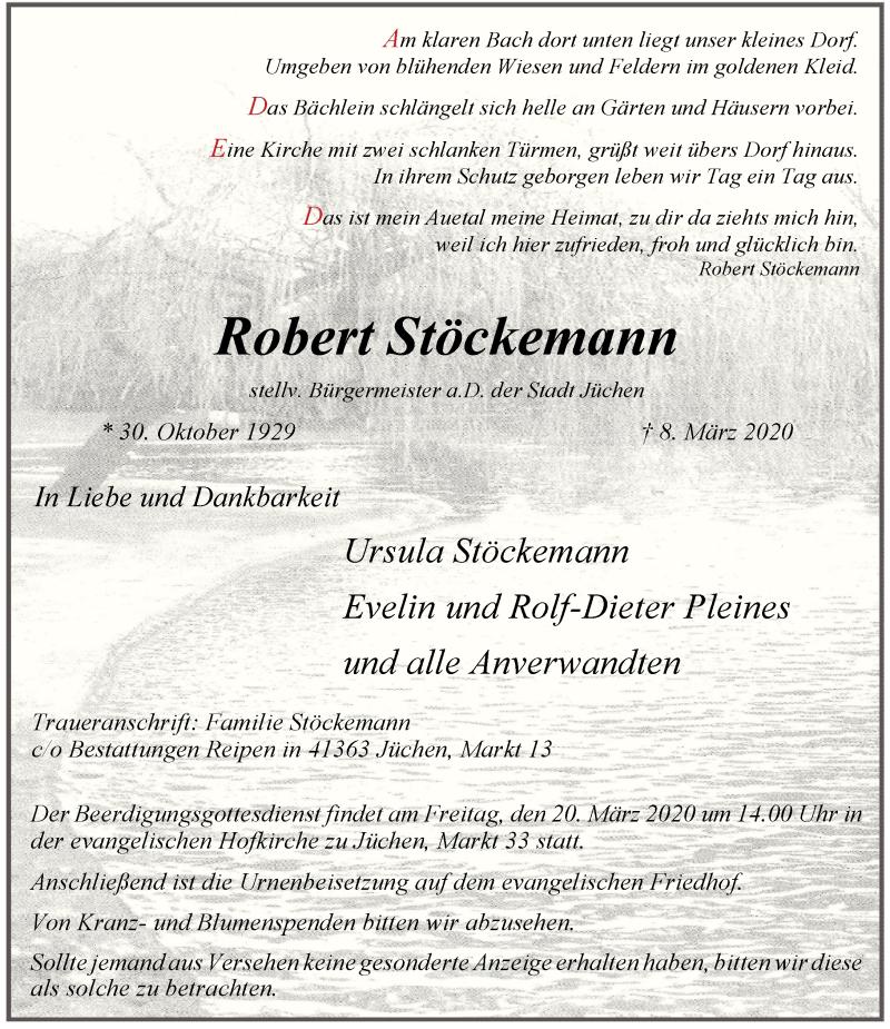 Anzeige von  Robert Stöckemann