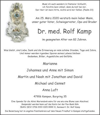 Traueranzeige von Rolf Kamp von Rheinische Post