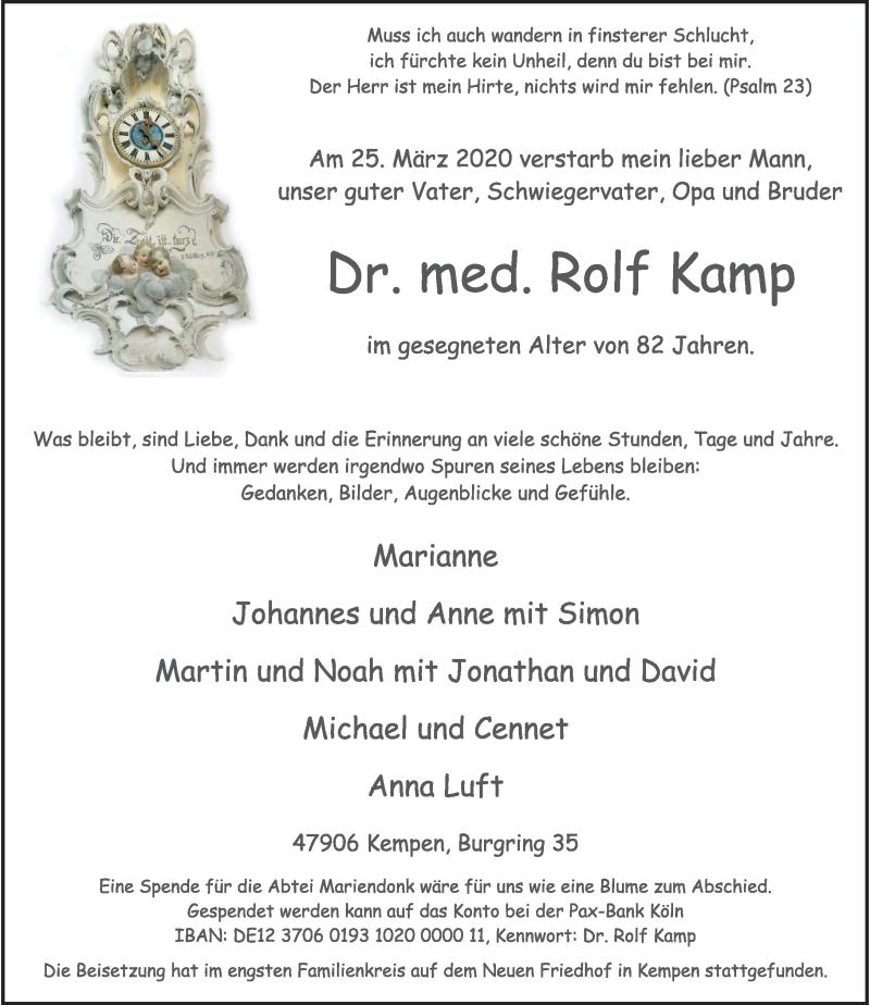 Traueranzeige für Rolf Kamp vom 28.03.2020 aus Rheinische Post