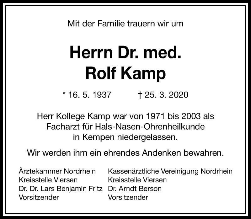 Traueranzeige für Rolf Kamp vom 01.04.2020 aus Rheinische Post
