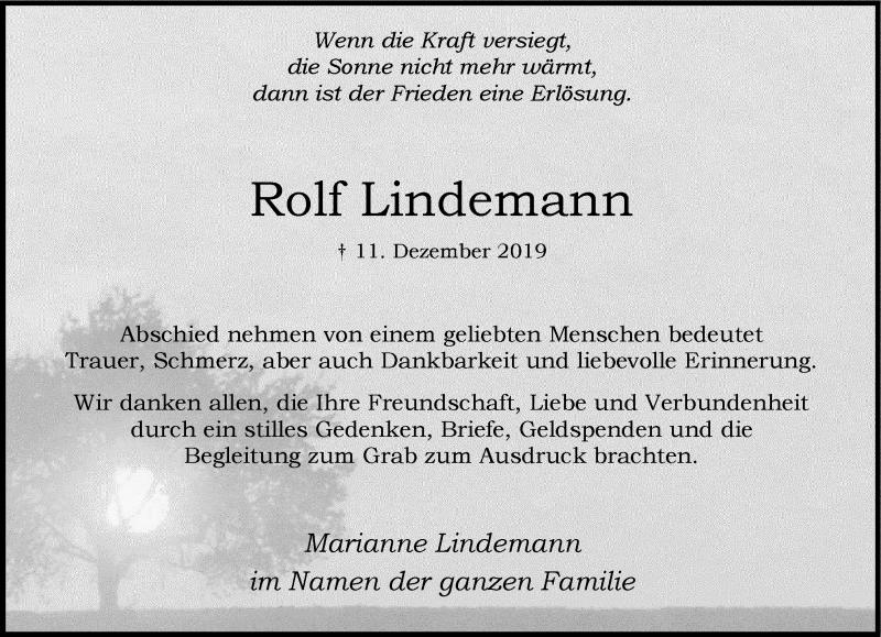 Traueranzeige für Rolf Lindemann vom 01.02.2020 aus Rheinische Post