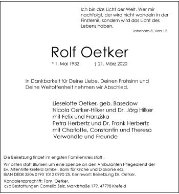 Traueranzeige von Rolf Oetker von Rheinische Post